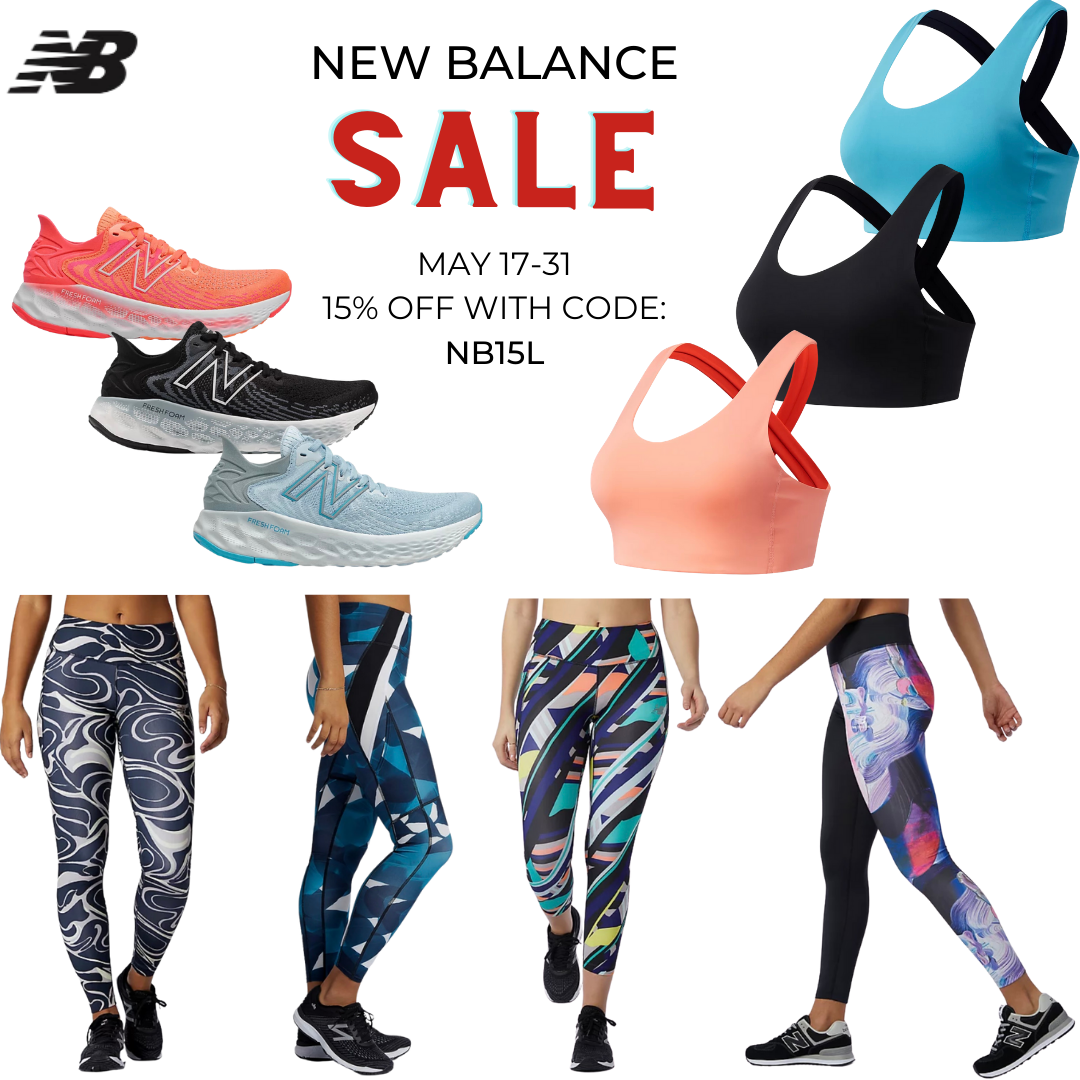 New Balance sale, discount code, fitness clothing, fitness clothes, workout clothes, running shoes, sports bra, leggings